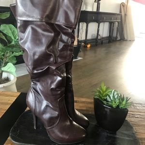 "Shoes - Brown Leather Like 3.5"" Heel Boots Scrunch"